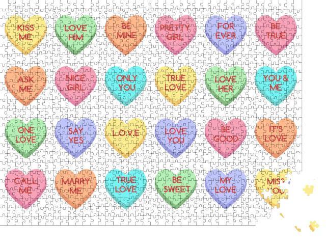 """Puzzle 1000 Teile """"Süße Bonbons und Herzen zum Valentinstag"""""""