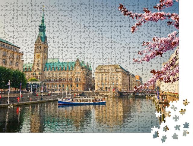 """Puzzle 1000 Teile """"Hamburger Rathaus und Alster im Frühjahr"""""""