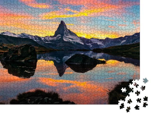 """Puzzle 1000 Teile """"Morgendlicher Blick auf den Stellisee am Matterhorn, Alpen, Schweiz"""""""