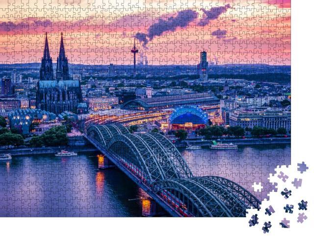 """Puzzle 1000 Teile """"Kölner Skyline bei Sonnenuntergang, Deutschland"""""""