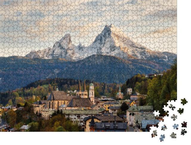 """Puzzle 1000 Teile """"Berchtesgaden vor dem Watzmann in den bayerischen Alpen"""""""