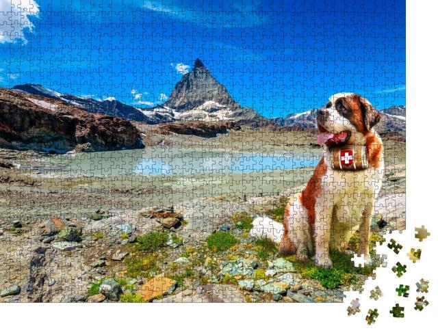 """Puzzle 1000 Teile """"Bernhardiner-Rettungshund mit Schnapsfass vor den Alpen, Zermatt"""""""