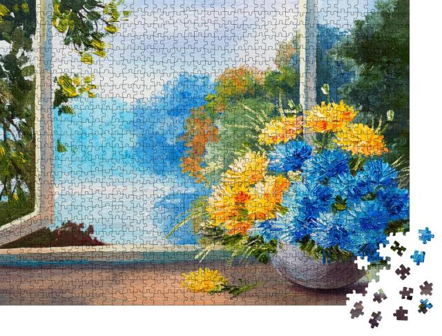 """Puzzle 1000 Teile """"Ölgemälde: Frühlingsblumenstrauß auf einem Tisch in der Nähe des Fensters"""""""