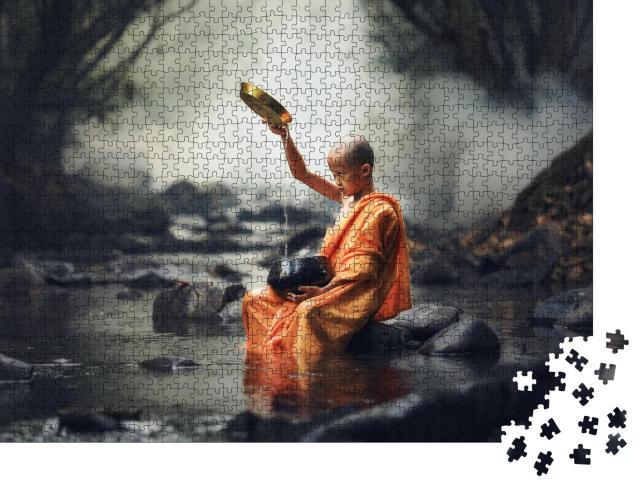 """Puzzle 1000 Teile """"Novizenmönch in Thailand"""""""