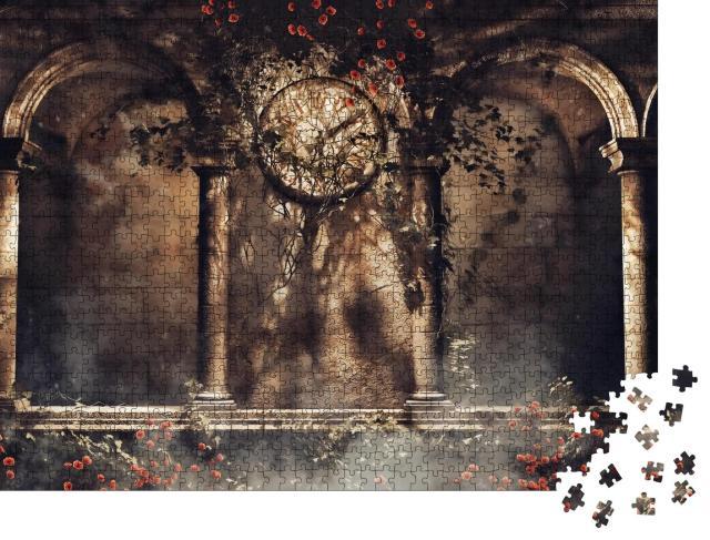 """Puzzle 1000 Teile """"Illustration: Alte gotische Bögen mit Weinreben, Rosen und einer alten Uhr"""""""