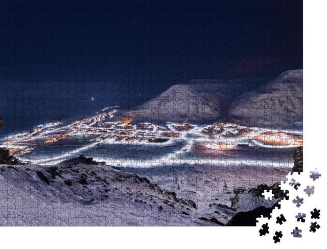 """Puzzle 1000 Teile """"Eis und Natur: Landschaft von Spitzbergen bei Polarnacht"""""""