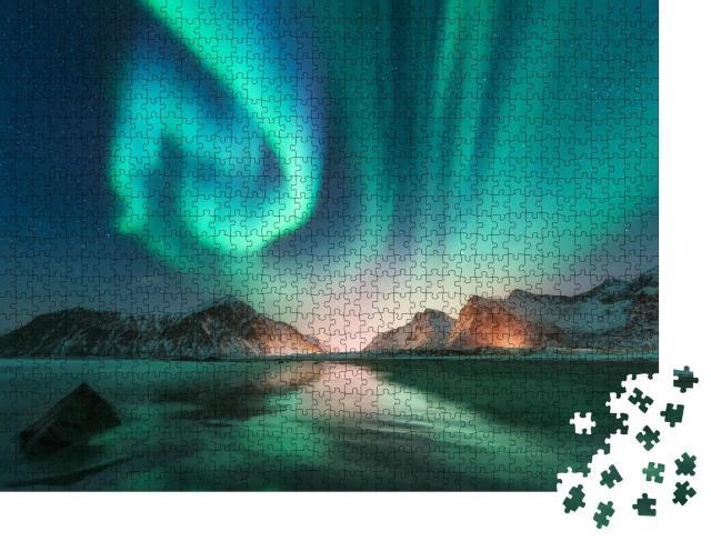 """Puzzle 1000 Teile """"Nordlichter auf den Lofoten mit Sternenhimmel, Norwegen"""""""