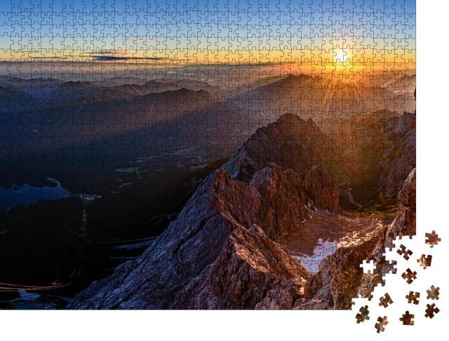 """Puzzle 1000 Teile """"Schöner Sonnenaufgang auf der Zugspitze, Deutschland"""""""
