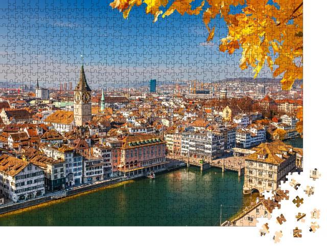 """Puzzle 1000 Teile """"Zürich am Limmat, Schweiz"""""""