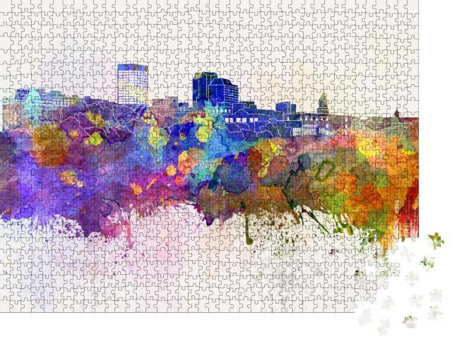 """Puzzle 1000 Teile """"Digitale Kunst: Skyline von Manchester im Aquarell-Hintergrund"""""""