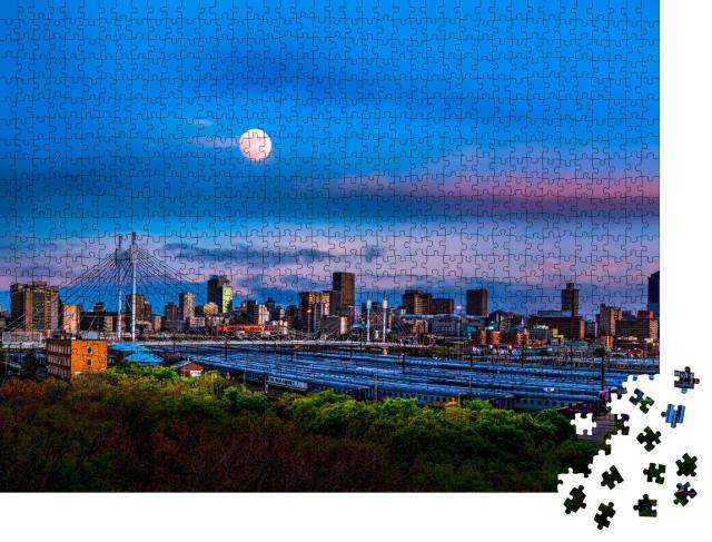 """Puzzle 1000 Teile """"Skyline von Johannesburg mit der Nelson Mandela Brücke"""""""