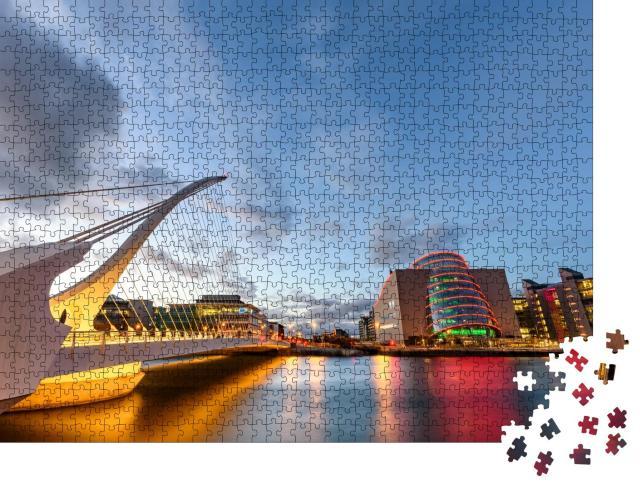 """Puzzle 1000 Teile """"Dublin Convention Center und Samuel-Beckett-Brücke vor dem Liffey, Dublin, Irland"""""""