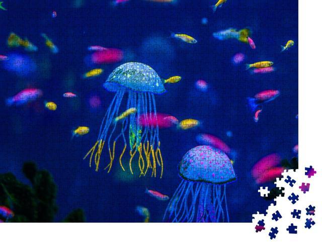 """Puzzle 1000 Teile """"Bunte Unterwasserwelt: Aquarium mit Quallen, Fischen und Algen"""""""