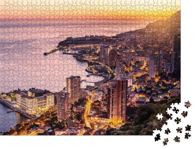 """Puzzle 1000 Teile """"Abendansicht von Montecarlo, Monaco, Cote d'Azur, Europa"""""""