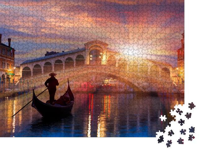 "Puzzle 1000 Teile ""Gondel in der Nähe der Rialto-Brücke in Venedig, Italien"""