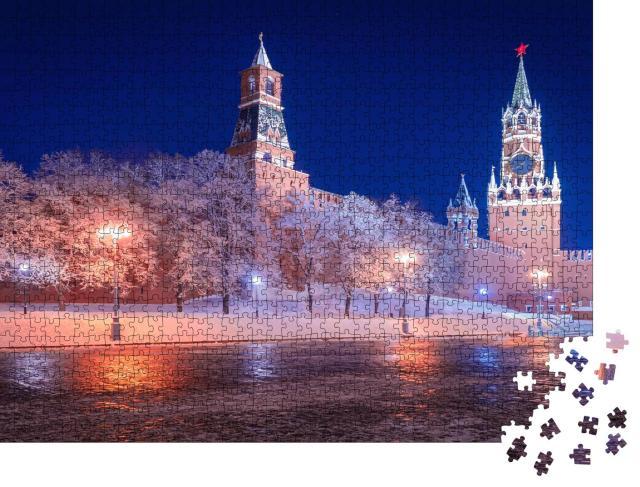 """Puzzle 1000 Teile """"Winterliches Moskau: Roter Platz nahe dem Kreml"""""""