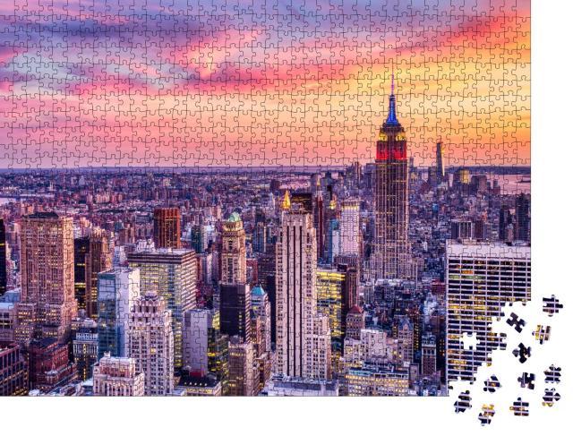 """Puzzle 1000 Teile """"New York City: Sonnenuntergang über Midtown aus der Luft betrachtet"""""""