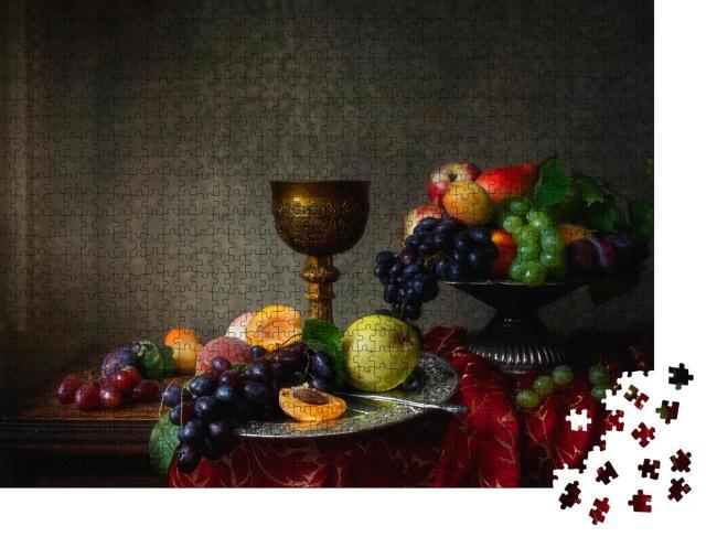 """Puzzle 1000 Teile """"Früchtestillleben im Barockstil mit Trauben, Pfirsichen, Pflaumen und Birnen"""""""