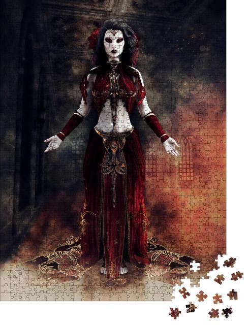 """Puzzle 1000 Teile """"Illustration: Gothic-Zauberin, umhüllt von Rauch"""""""