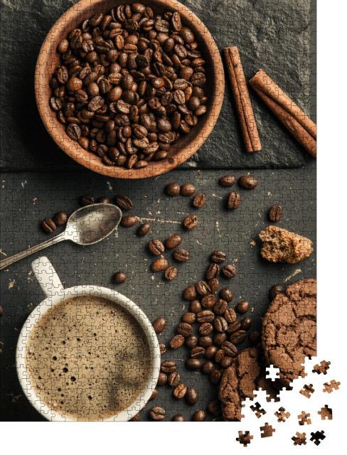 """Puzzle 1000 Teile """"Ensemble aus gerösteten Kaffeebohnen, Kaffee und Keksen"""""""