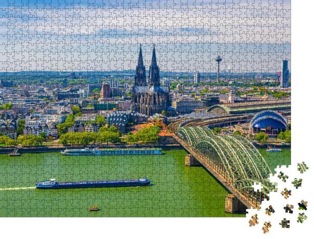 """Puzzle 1000 Teile """"Kölner Innenstadt: Luftbild mit Dom, Bahnhof, Rhein"""""""