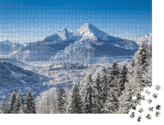 """Puzzle 1000 Teile """"Bayerische Alpen mit Berchtesgaden und Watzmann-Massiv"""""""