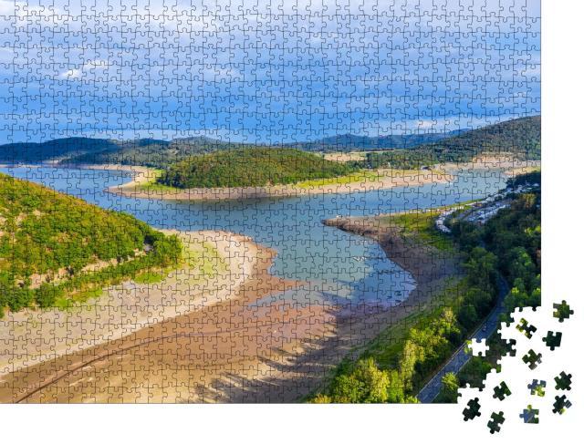 """Puzzle 1000 Teile """"Ein Teil des Edersees bei heißem Wetter ohne Wasser"""""""