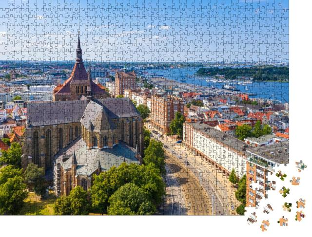 """Puzzle 1000 Teile """"Blick über Rostock, Deutschland"""""""