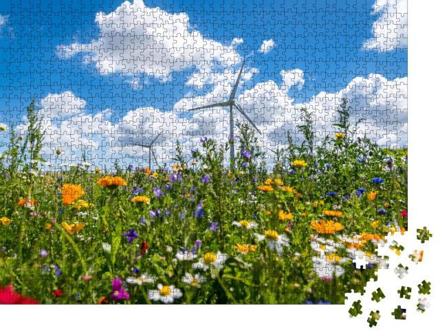 """Puzzle 1000 Teile """"Windräder auf blühenden Wiesen"""""""