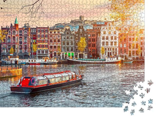 """Puzzle 1000 Teile """"Alte Gebäude in Amsterdam, Niederlande"""""""
