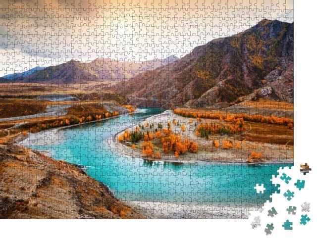 """Puzzle 1000 Teile """"Zusammenfluss der Flüsse Chuya und Katun im Altai-Gebirge, Sibirien, Russland"""""""