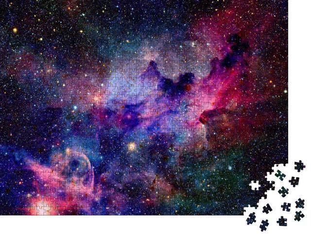 """Puzzle 1000 Teile """"Nebel und Galaxien im Weltraum, bunte Farben, rot, violett, blau"""""""
