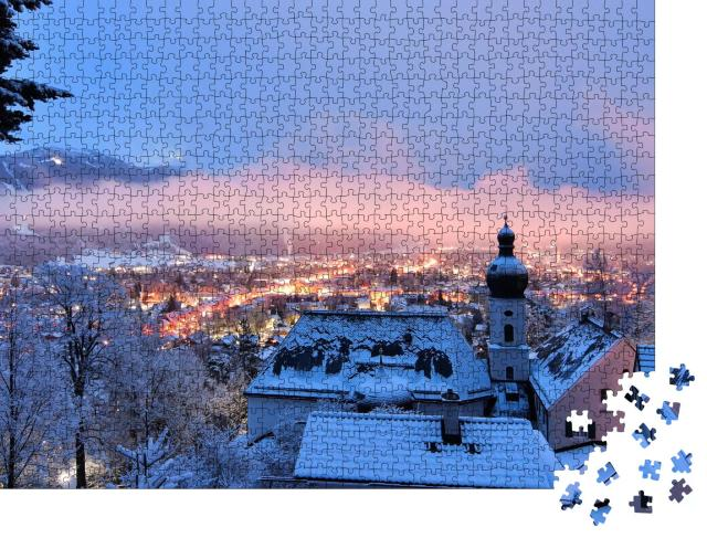"""Puzzle 1000 Teile """"Verschneite Winternacht Garmisch-Partenkirchen"""""""