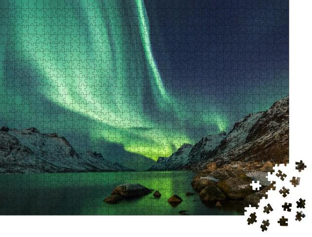 """Puzzle 1000 Teile """"Nordlichter über dem Wasser"""""""