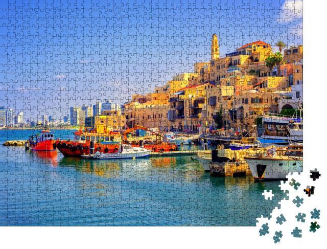 """Puzzle 1000 Teile """"Altstadt, Hafen von Jaffa und Skyline von Tel Aviv, Israel"""""""