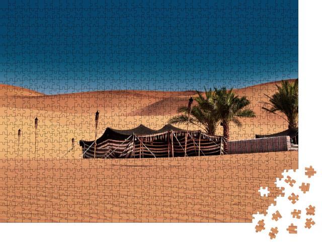 """Puzzle 1000 Teile """"Aufgebautes Beduinenzelt, zelten in der Wüste, Abu Dhabi, Dubai"""""""