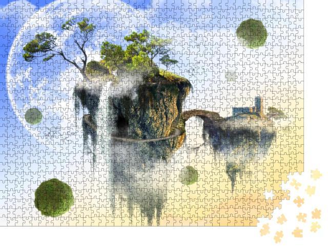 """Puzzle 1000 Teile """"Schwerelos: Schwebende Insel in einer fernen Galaxie"""""""