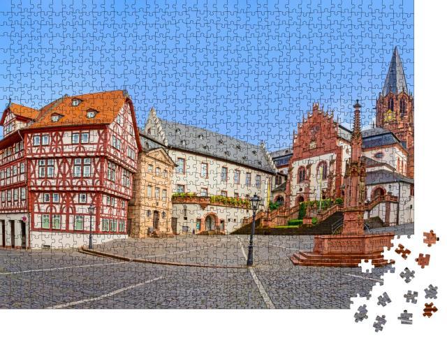 """Puzzle 1000 Teile """"Stiftsbasilika in Aschaffenburg am Stiftskirchenplatz, Deutschland"""""""