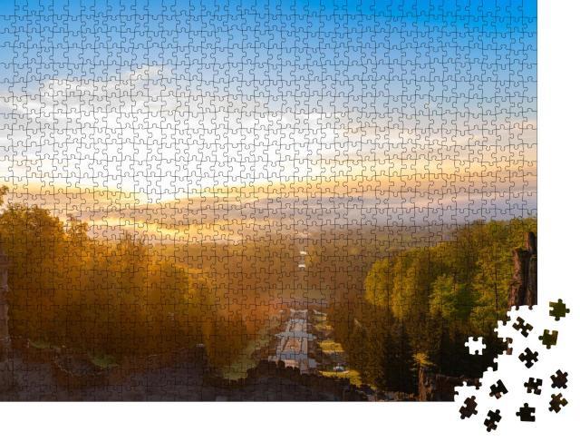 """Puzzle 1000 Teile """"Sonnenaufgang über Kassel, Deutschland"""""""