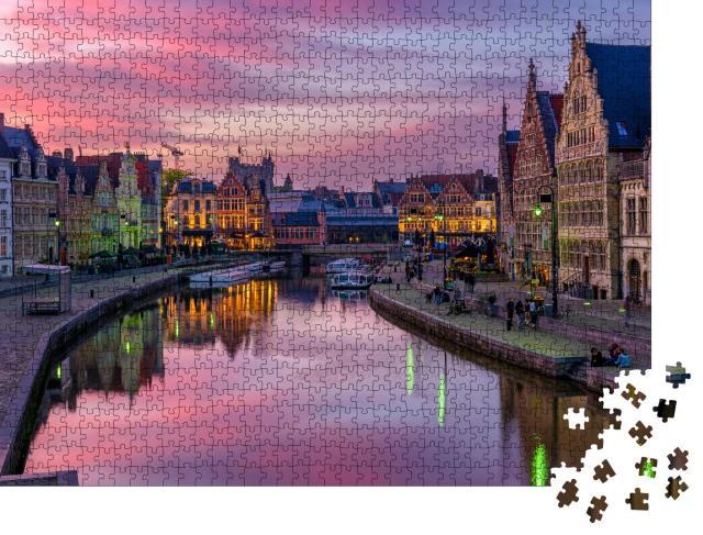 """Puzzle 1000 Teile """"Historisches Stadtzentrum von Gent, Belgien"""""""