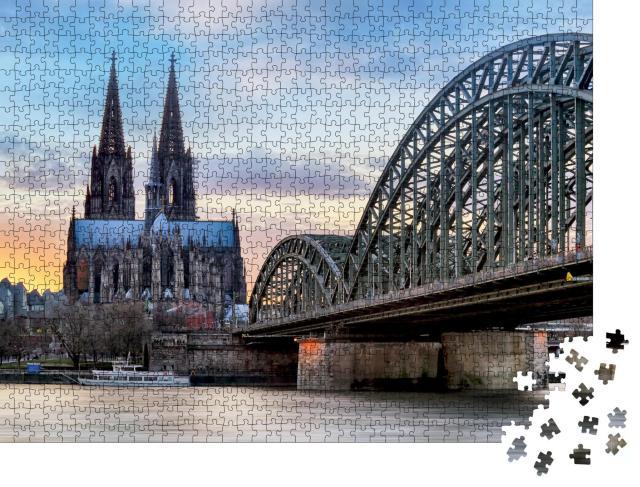"""Puzzle 1000 Teile """"Kölner Dom und Hohenzollernbrücke am Rhein"""""""