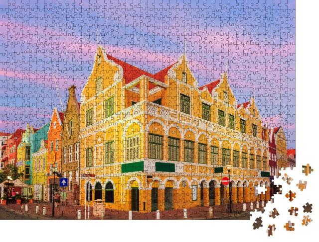 """Puzzle 1000 Teile """"Innenstadt von Willemstad in der Dämmerung, Curacao, Niederländische Antillen"""""""