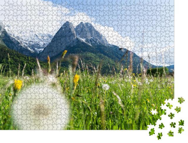 """Puzzle 1000 Teile """"Zugspitze in Blumenwiesen"""""""