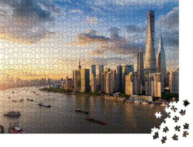 """Puzzle 1000 Teile """"Blick über den Huangpu-Fluss auf die moderne Skyline von Shanghai"""""""