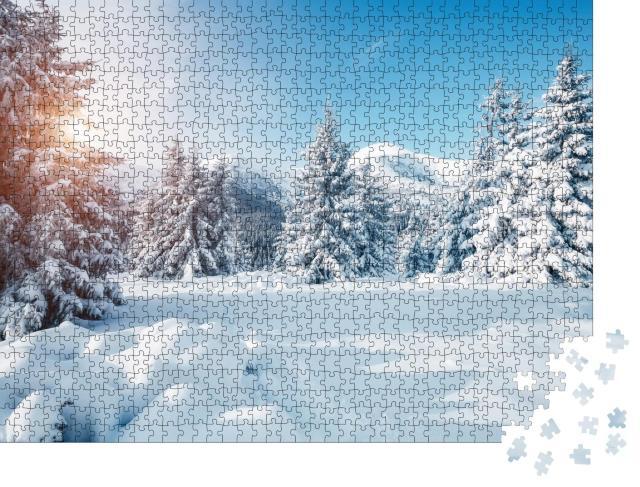 """Puzzle 1000 Teile """"Sonniges Winterwunderland, Karpaten, Urkaine"""""""