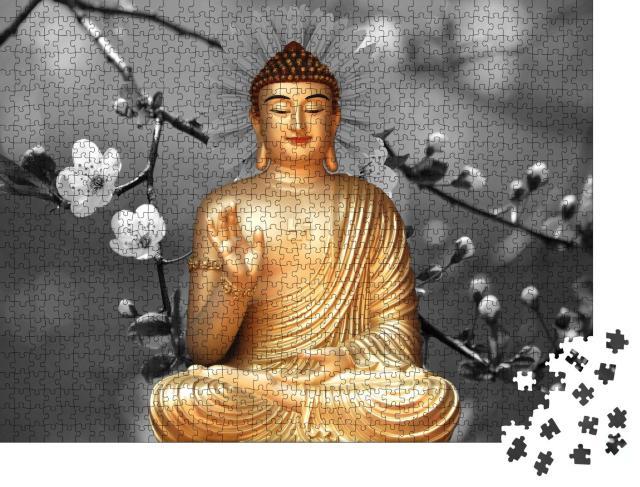 """Puzzle 1000 Teile """"Schöne Buddha-Tapete, Illustration in 3D"""""""