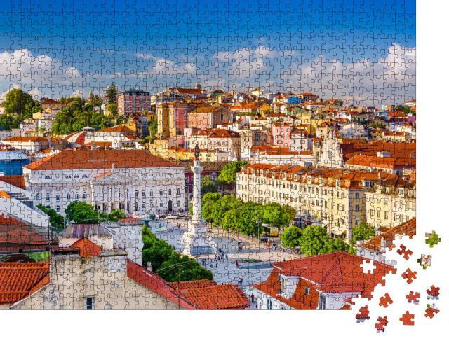 """Puzzle 1000 Teile """"Lissabon Skyline mit Blick über den Rossio Platz"""""""