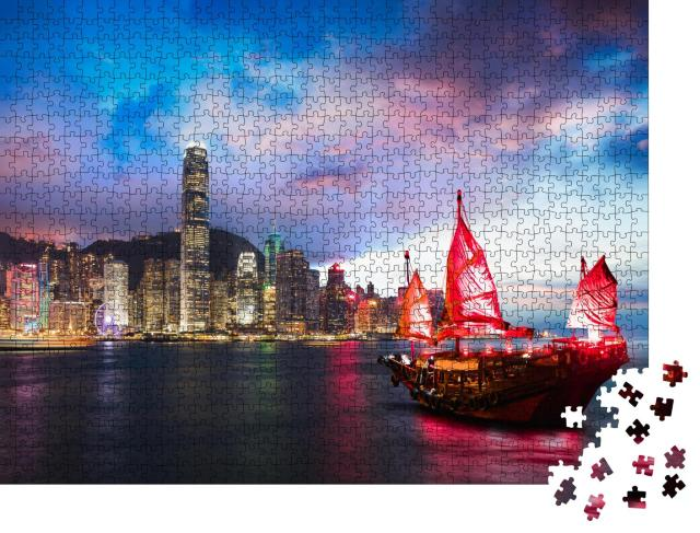 """Puzzle 1000 Teile """"Dschunke im Victoria Harbour, Hongkong"""""""