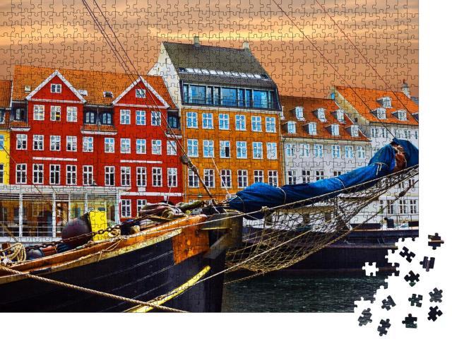 """Puzzle 1000 Teile """"Yachten und farbige Häuser an der Strandpromenade in Nyhavn"""""""