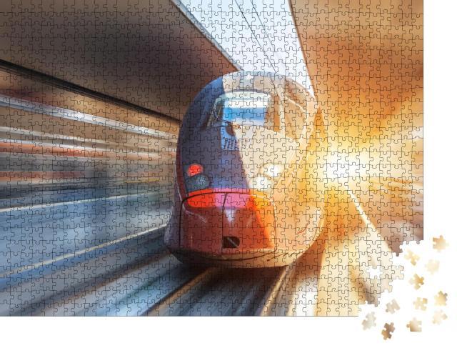 """Puzzle 1000 Teile """"Frontansicht eines Hochgeschwindigkeitszugs in voller Fahrt"""""""
